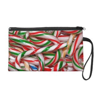 colourful candy cane print on wristlet