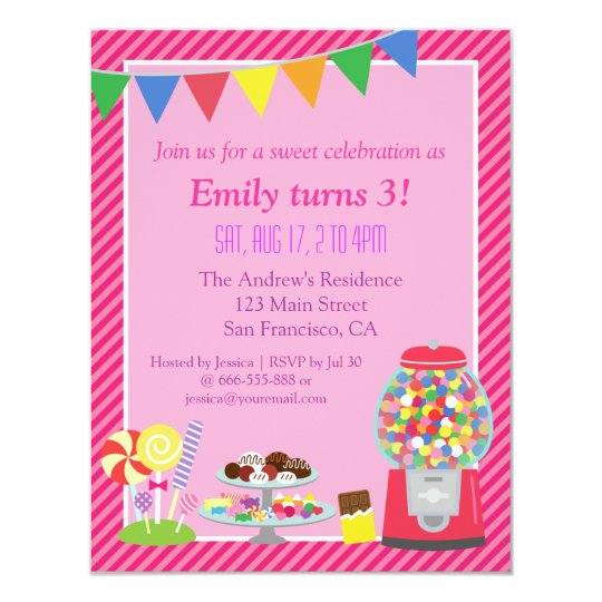 Colourful candy themed birthday party invitation zazzle colourful candy themed birthday party invitation filmwisefo