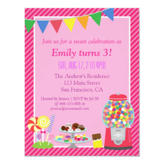 Colourful Candy Themed Birthday Party Invitation