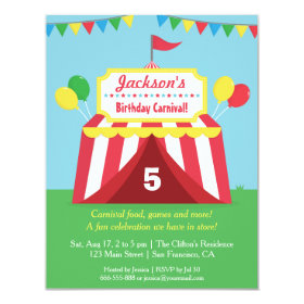 Colourful Carnival Kids Birthday Party Invitation 4.25