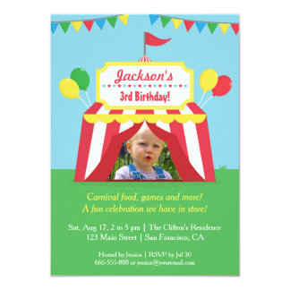 Colourful Carnival Kids Birthday Party Photo 4.5x6.25 Paper Invitation Card