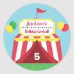 """Colourful Carnival Themed Kids Birthday Party Classic Round Sticker<br><div class=""""desc"""">Sticker for decorating carnival themed birthday party! It has a red and white carnival tent with lots of colourful balloons hanging around. The tent has a signboard with stars to feature the birthday child's name! Perfect for both birthday boys and girls. This is also perfect for schools that are holding...</div>"""