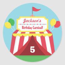 Colourful Carnival Themed Kids Birthday Party Classic Round Sticker