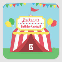 Colourful Carnival Themed Kids Birthday Party Square Sticker