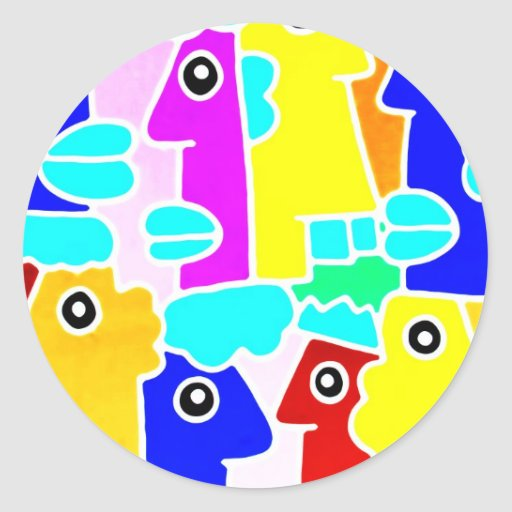 Colourful Cartoon Faces with Fat Lips (m7inv) Classic Round Sticker