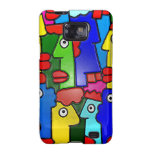 Colourful Cartoon Faces with Fat Lips (m7plast) Galaxy SII Covers