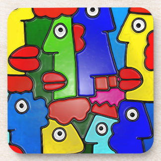 Colourful Cartoon Faces with Fat Lips (m7plast) Drink Coaster