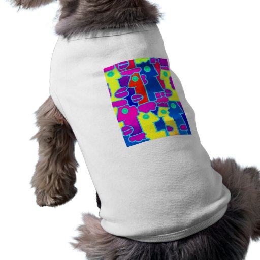 Colourful Cartoon Faces with Fat Pink Purple Lips Doggie Tee Shirt