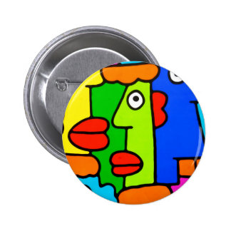 Colourful Cartoon Faces with Fat Red Lips Buttons