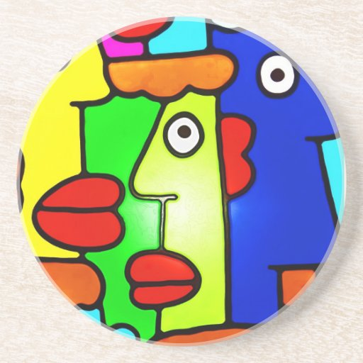 Colourful Cartoon Faces with Fat Red Lips (m6p) Drink Coaster