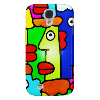 Colourful Cartoon Faces with Fat Red Lips (m6p) Samsung S4 Case