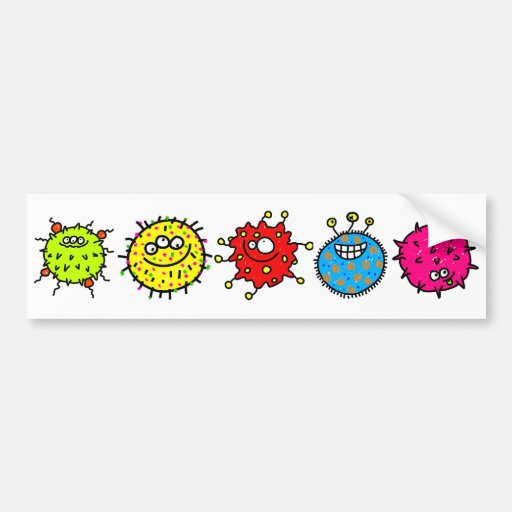 Colourful Cartoon Germs Bumper Stickers