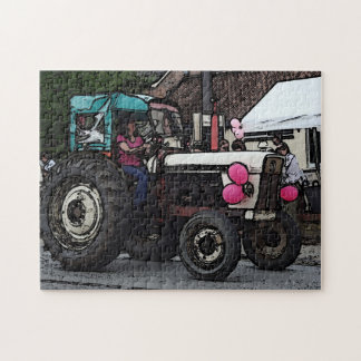 colourful cartoon tractor photograph jigsaw Puzzle