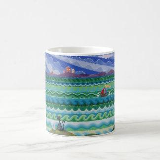 Colourful cat design mug by Soozie Wray