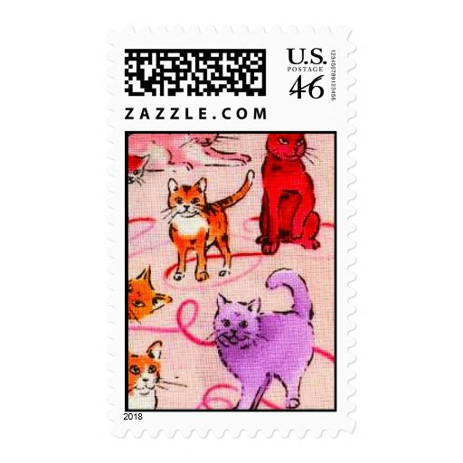 Colourful Cats fabric graphic design patterns back Postage Stamp