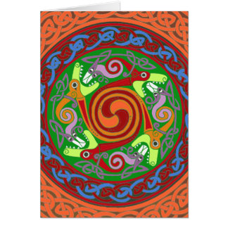 Colourful Celtic Dragons Greeting Card