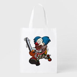 Colourful Chainsaw Clown Halloween Horror Cartoon Grocery Bag