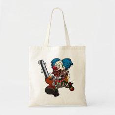 Colourful Chainsaw Clown Halloween Horror Cartoon Tote Bag at Zazzle