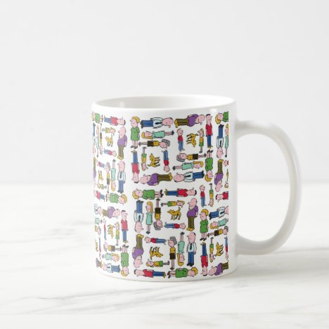 Colourful characters patterned coffee mug