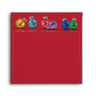 Colourful Christmas Ornaments - Envelope Square