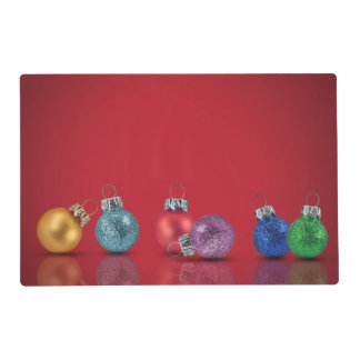 Colourful Christmas Ornaments - Laminated Placemat