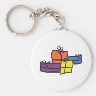 Colourful Christmas presents Keychain