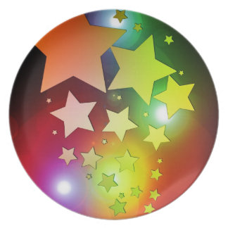 colourful Christmas stars lights Dinner Plates