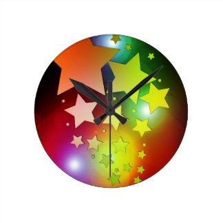 colourful Christmas stars lights Round Clock