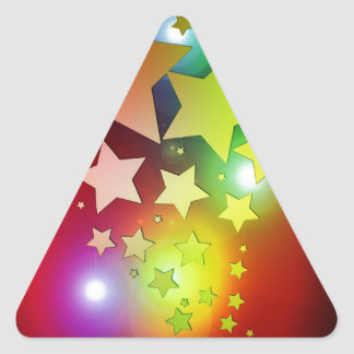 colourful Christmas stars lights Triangle Sticker