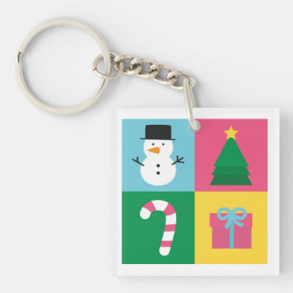 Colourful Christmas with Snowman, Tree, Candy Keychain