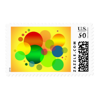 Colourful CIRCLES RANDOM FUN YELLOW RED BLUE GREEN Postage