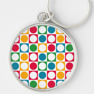 Colourful Circles & Squares Pattern Keychain