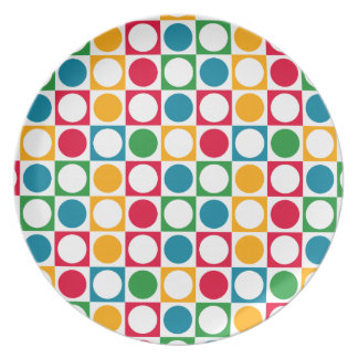 Colourful Circles & Squares Pattern Party Plate