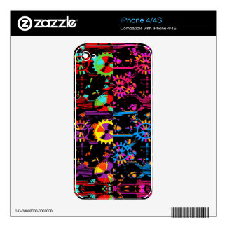Colourful Cogs And Gears Popart Electronic Skins Decal For iPhone 4