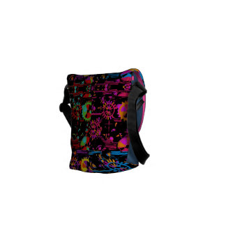 Colourful Cogs And Gears Popart Messenger Bag