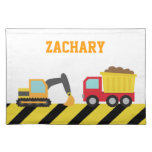 Colourful Construction Vehicle, For kids Cloth Place Mat