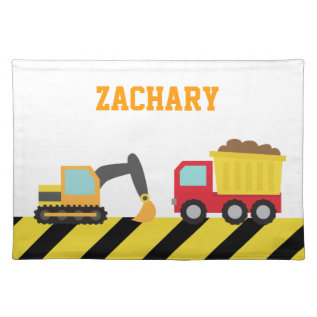 Colourful Construction Vehicle, For Kids Cloth Placemat at Zazzle