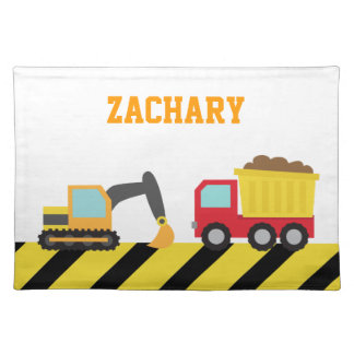 Colourful Construction Vehicle, For kids Cloth Placemat