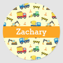 Colourful Construction Vehicles for Boys Classic Round Sticker
