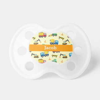 Colourful Construction Vehicles Pattern, Baby Boys Pacifier