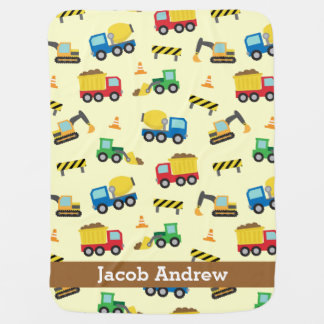 Colourful Construction Vehicles Pattern, Baby Boys Receiving Blanket