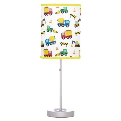 Construction Lamps For Boys : Colourful construction vehicles pattern boys room desk