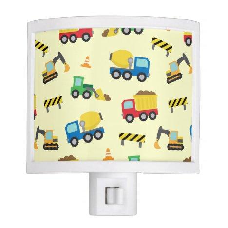 Colourful Construction Vehicles Pattern Boys Room Night Light