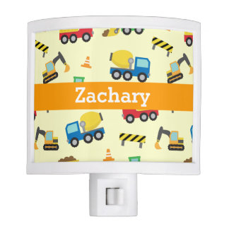 Colourful Construction Vehicles Pattern Boys Room Nite Lite