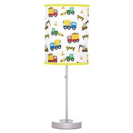 Colourful Construction Vehicles Pattern Boys Room Table Lamp