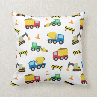 Colourful Construction Vehicles Pattern Boys Room Throw Pillow