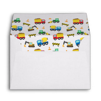 Colourful Construction Vehicles Pattern Envelope