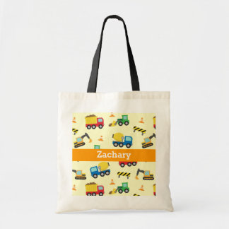 Colourful Construction Vehicles Pattern for Boys Budget Tote Bag