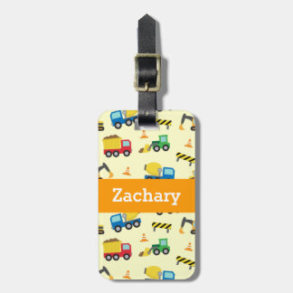 Colourful Construction Vehicles Pattern for Boys Bag Tag
