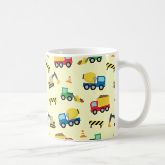 Colourful Construction Vehicles Pattern for Boys Coffee Mug